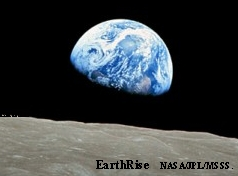 Earthrise over the Moon from Apollo 11.